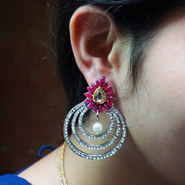 Pink Color With White Stone Earring