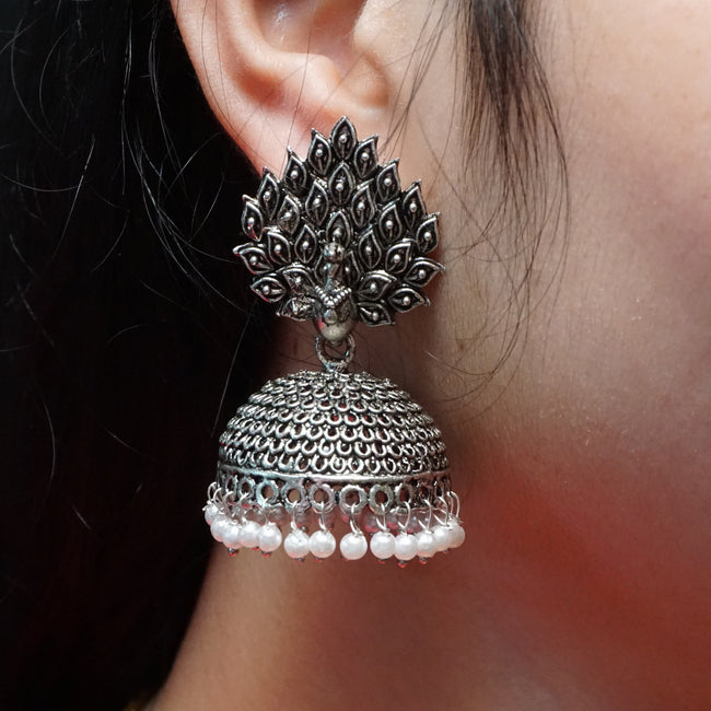 Peacock Design Oxidized Earring Set