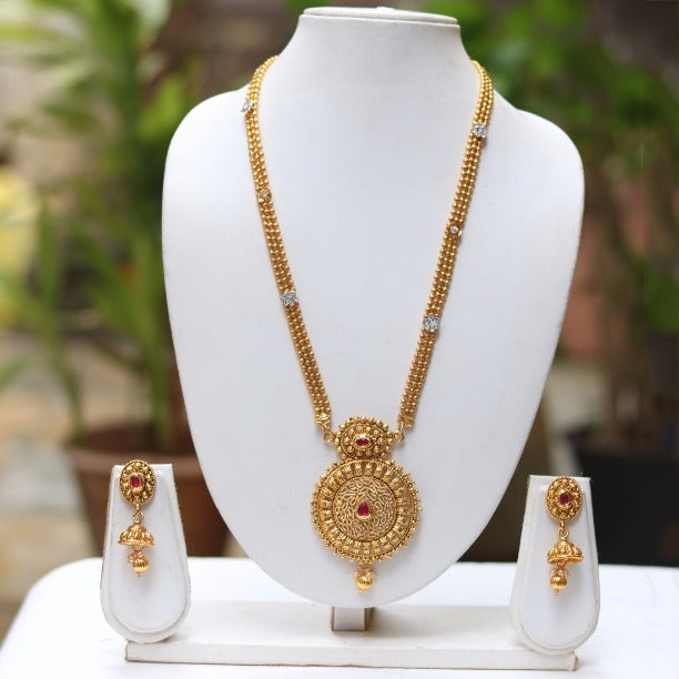 Gold Plated Necklace Desing With Jhumki
