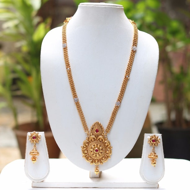 Gold Plated Mango Desing Pendant Necklace With Jhumki