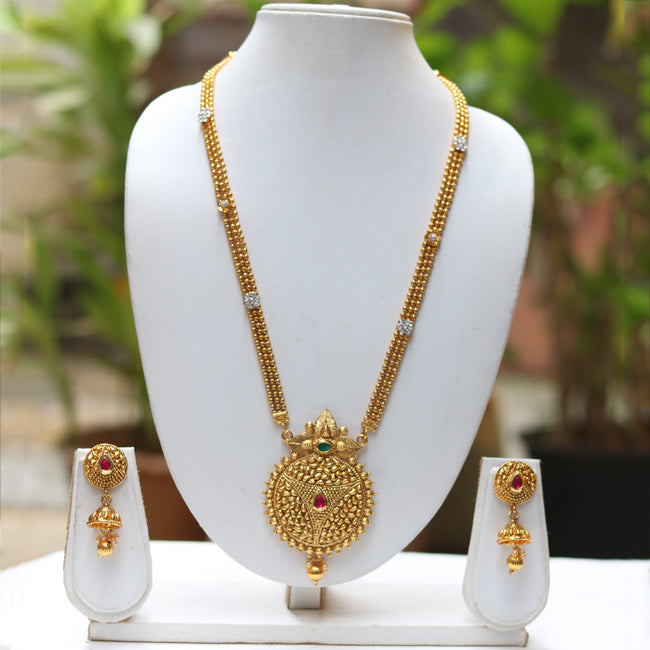 Gold Plated Kalasha Desing Pendant Necklace With Jhumki