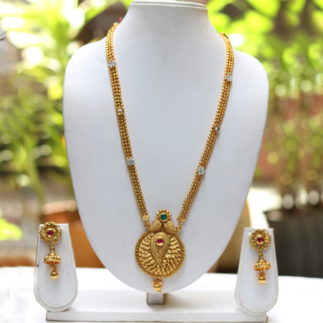 Gold Plated Round Mango Pendant Necklace With Jhumki