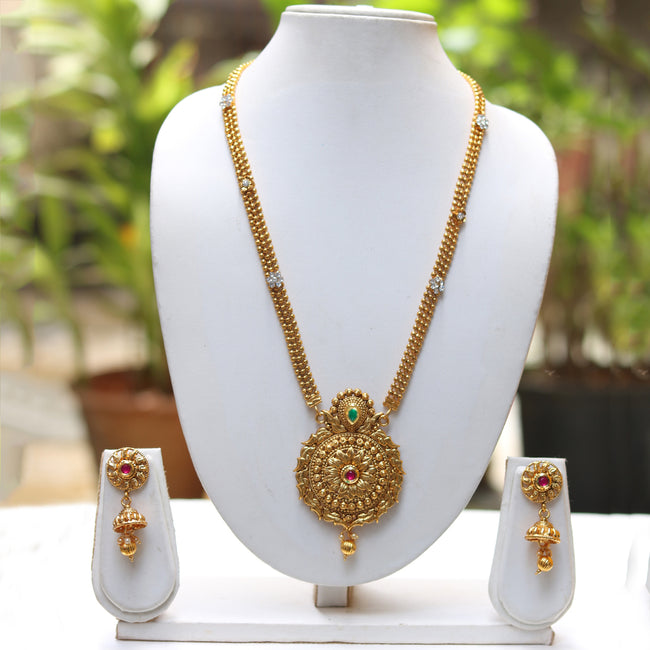 Gold Plated Round Pendant Necklace With Jhumki