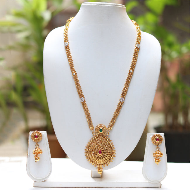 Gold Plated Long Haram Chain Style Necklace With Jhumki