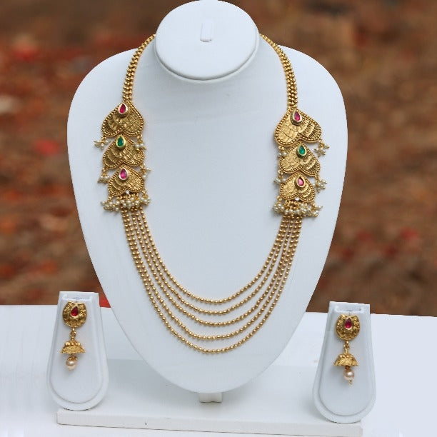 Dil Stylish 5 String Gold Plated Necklace Set