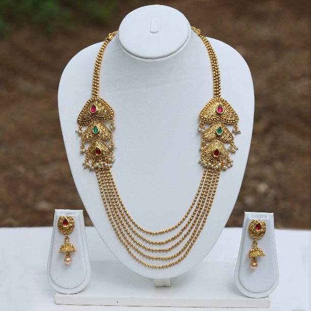 Dil Green Maroon Stylish 5 String Gold Plated Necklace Set