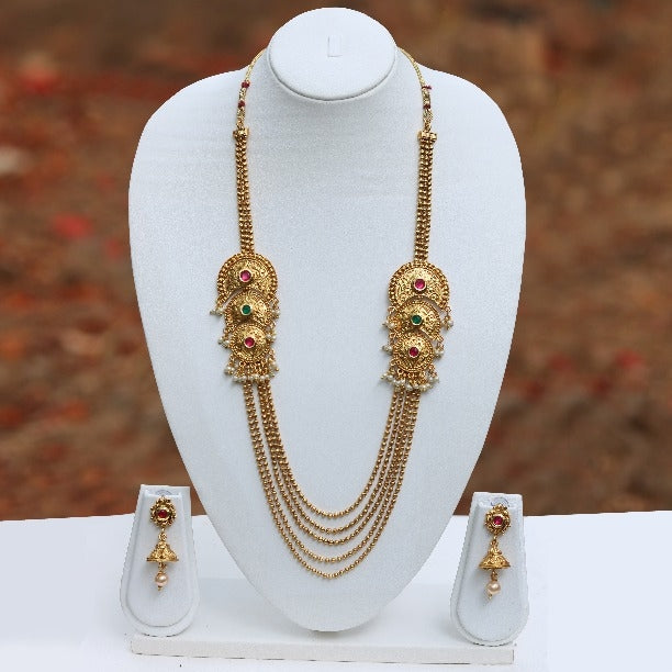 Chand Shape Stylish 5 String Gold Plated Necklace Set
