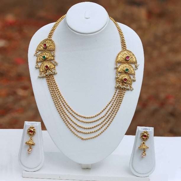Half Chand Shape Stylish 5 String Gold Plated Necklace Set