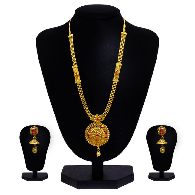 Look Ethnic Gold Plated Long Necklace For Women (LEMZL00028)