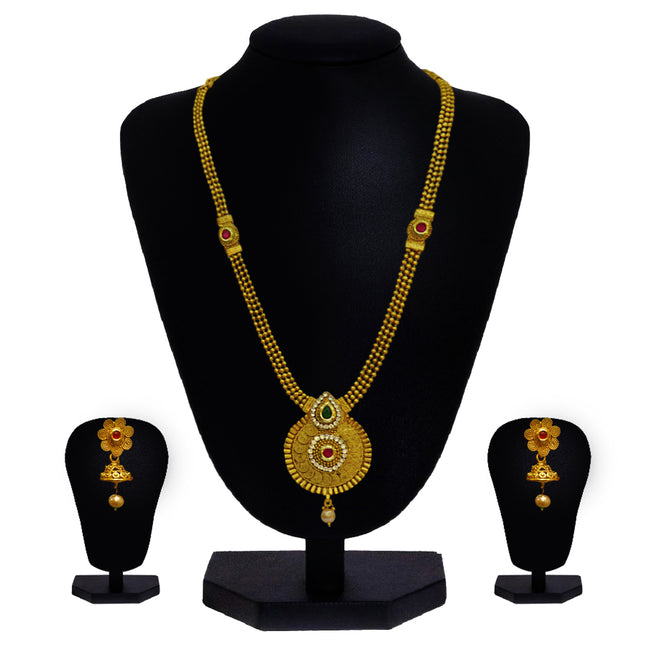 Look Ethnic Gold Plated Long Necklace For Women (LEMZL00030)