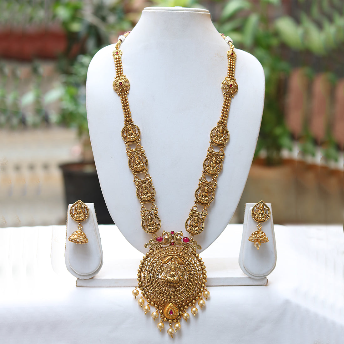 Beautiful Golden laxmi Peacock Long Necklace Set – Look Ethnic