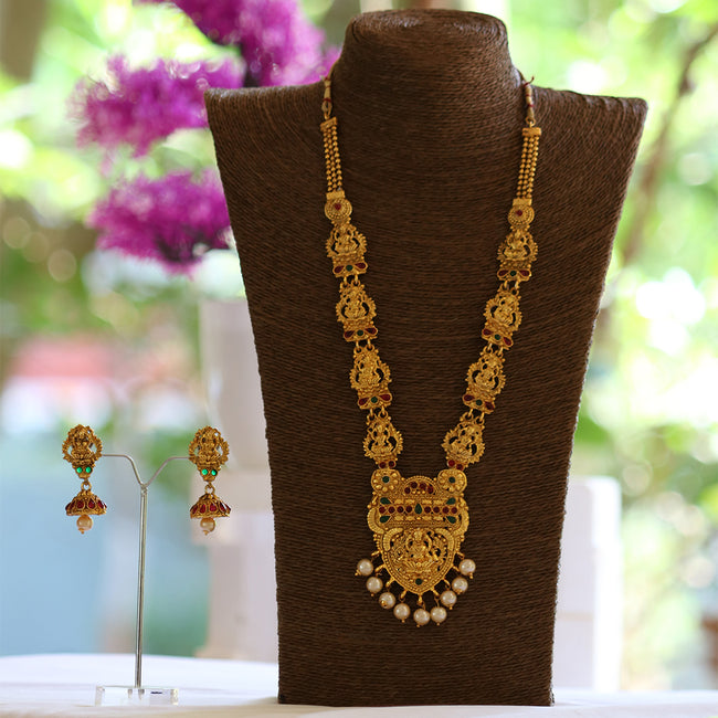 Look Ethnic Gold Plated Long Necklace For Women (LEMZL00048)