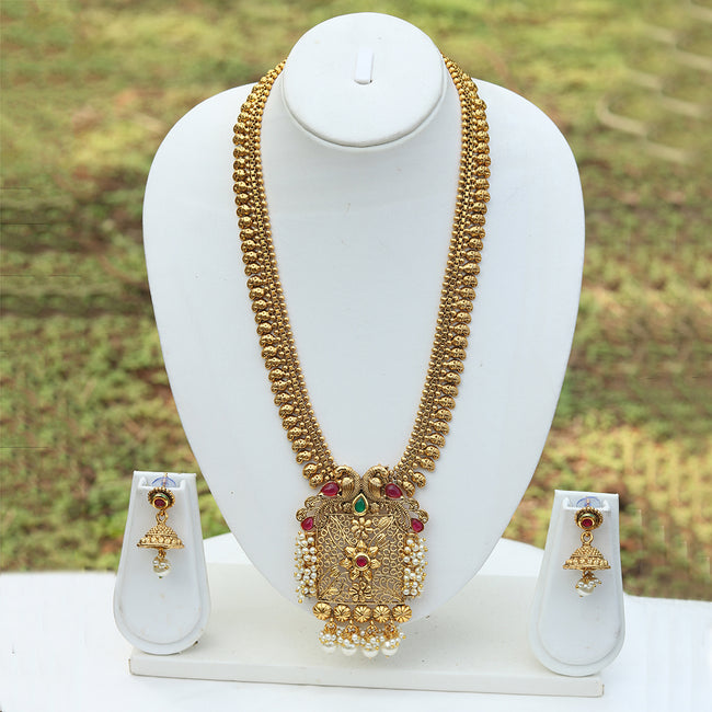 Exotic Peacock Inspired Gold Plated Necklace Set