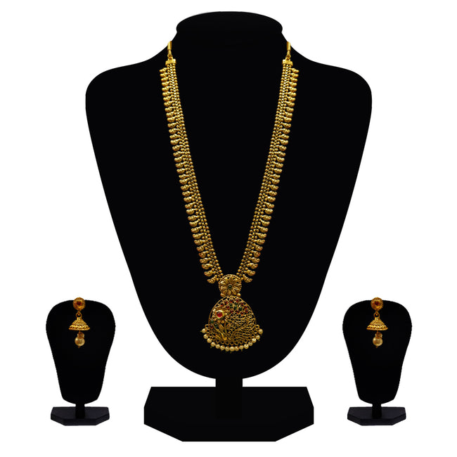 Look Ethnic Gold Plated Long Necklace For Women (LEMZL00064)