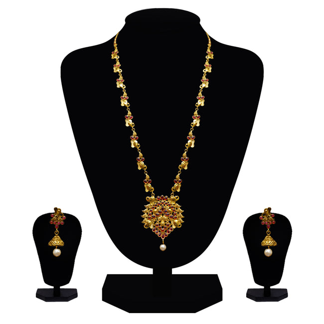 Look Ethnic Gold Plated Long Necklace For Women (LEMZL00068)