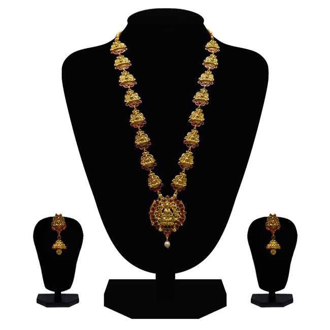 Look Ethnic Gold Plated Long Necklace For Women (LEMZL00073)