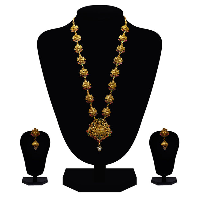 Look Ethnic Gold Plated Long Necklace For Women (LEMZL00074)