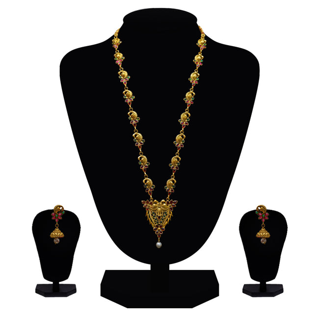 Look Ethnic Gold Plated Long Necklace For Women (LEMZL00084)