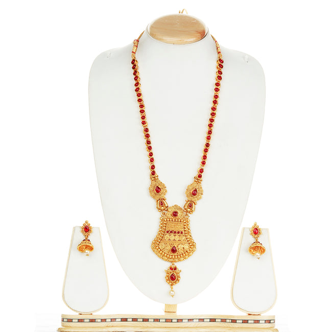 Flashy Maroon Color Long Necklace Set