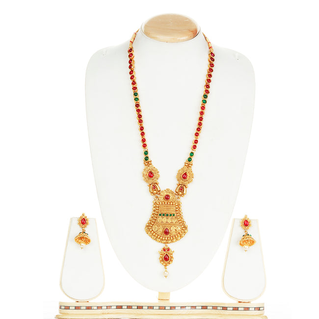 Flashy Green Maroon Color Long Necklace Set