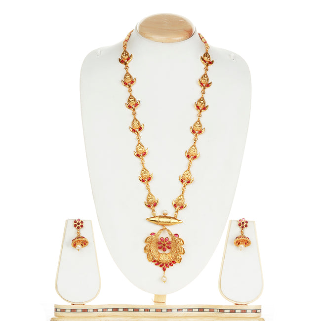 Catchy  Maroon Color Drop Design Long Necklace Set