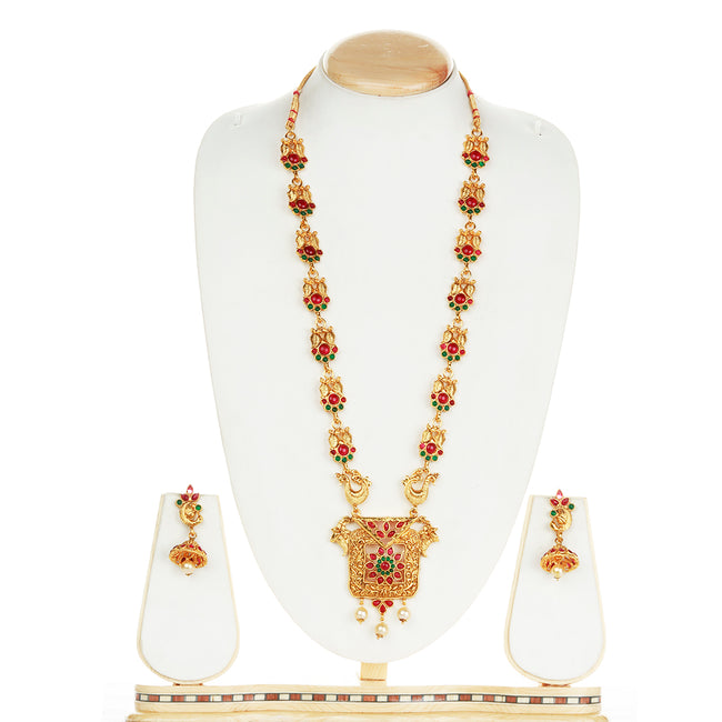 Fancy Design Geen Maroon Colour Long Necklace Set