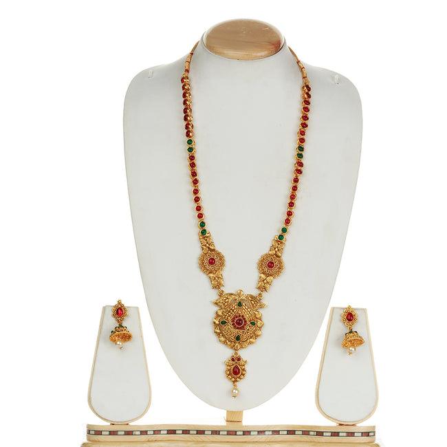 Catchy Drop Shape Design Green Maroon Long Necklace Set