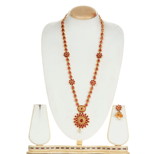 Shiny Flower Type Maroon Colour Long Necklace Set