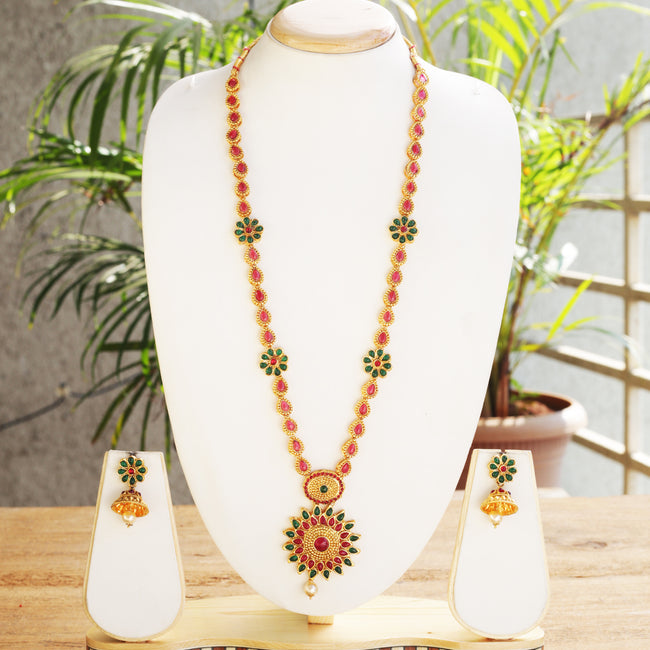 Shiny Flower Type Green Maroon Colour Long Necklace Set