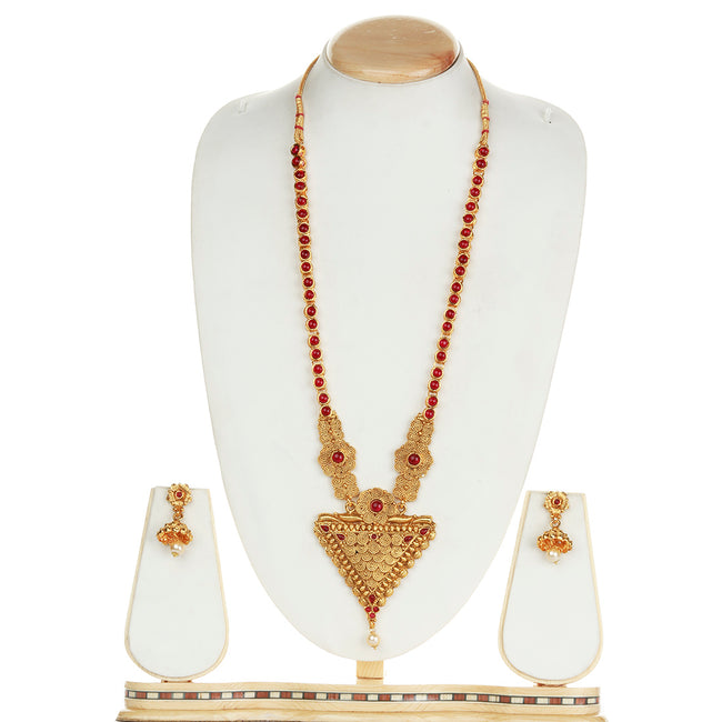 Attractive Trangle Shape Maroon Color Long Necklace Set