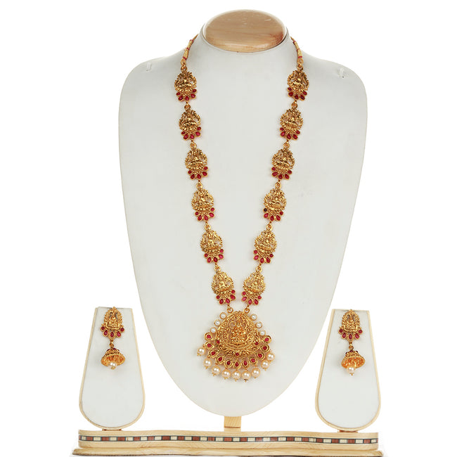 Fancy Laxmi Design Maroon Colour Long Necklace Set