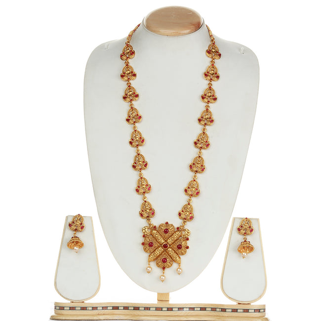 Catchy Laxmi Patta  Maroon Color Long Necklace Set