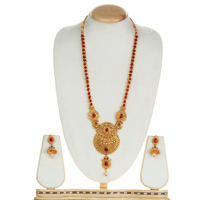 Smarty Design  Maroon Long Necklace Set