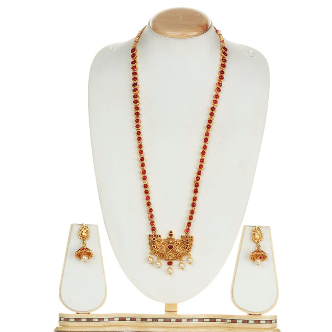 Latest Peacock Design  Maroon Long Necklace Set