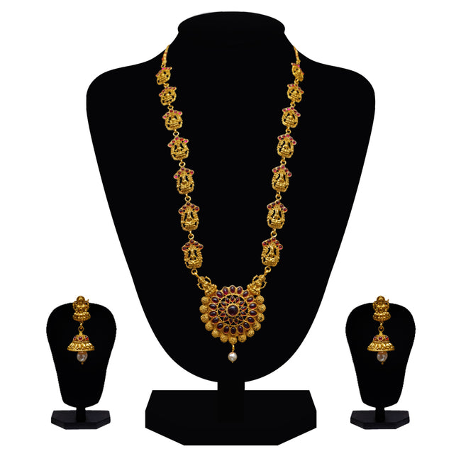 Look Ethnic Gold Plated Long Necklace For Women (LEMZL00160)
