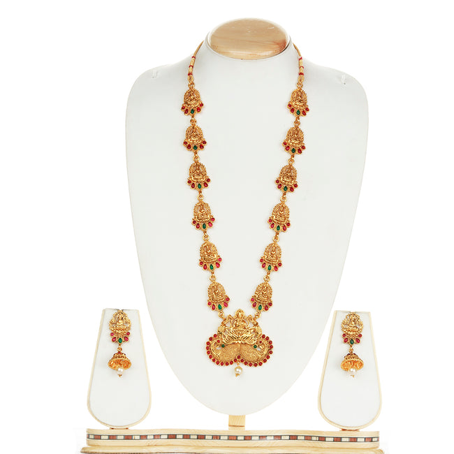 Latest Laxmi Design Green Maroon Color Long Necklace Set