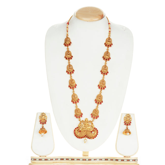 Latest Laxmi Design Maroon Color Long Necklace Set
