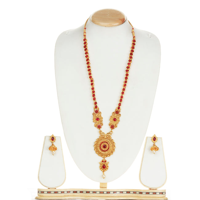 Fancy Round Shape Peacock Design Maroon Long Necklace Set