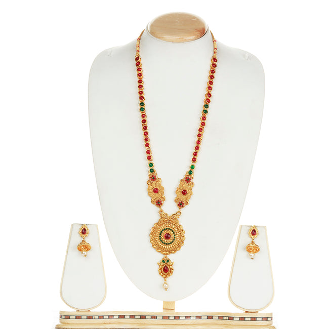 Fancy Round Shape Peacock Design Green Maroon Long Necklace Set