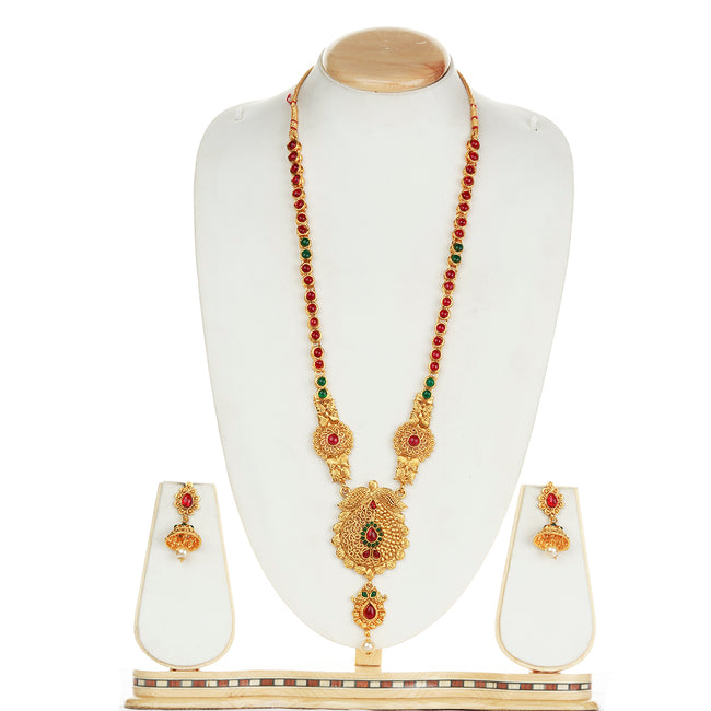 Drop Shape Design Smarty Green Maroon Long Necklace Set