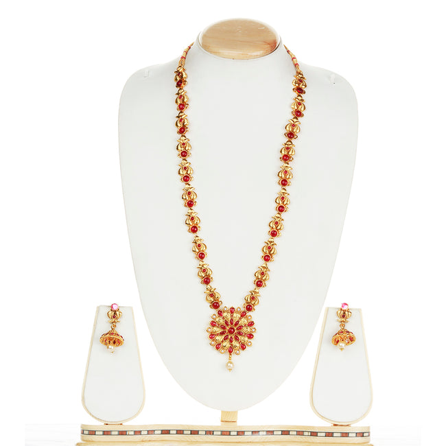 Catchy Flower Type Deign Maroon Color Long Necklace Set