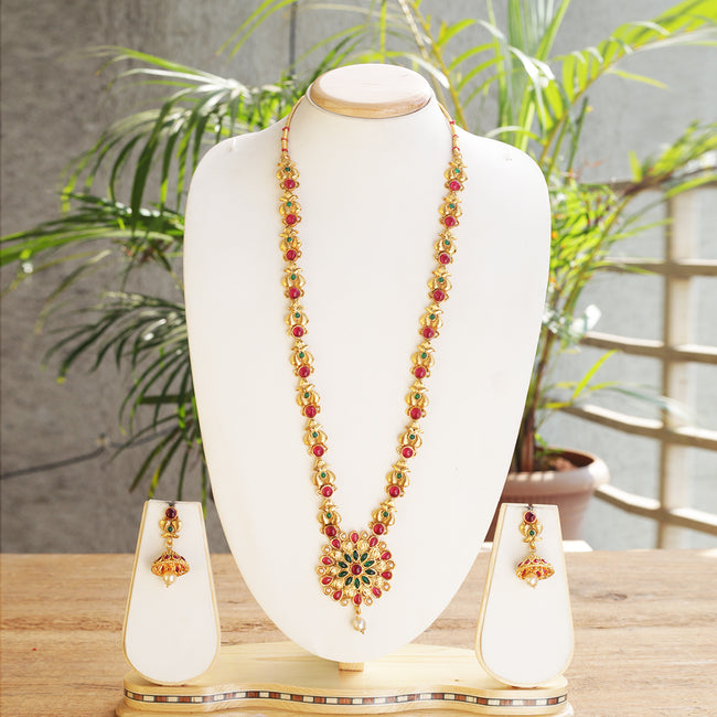 Catchy Flower Type Deign Green Maroon Color Long Necklace Set