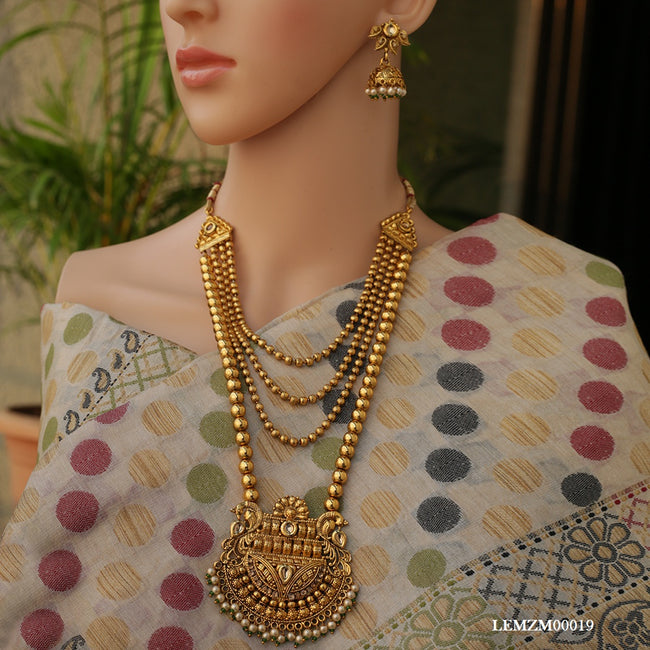 Gold White kundan color strap mala copper necklace
