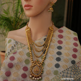 Gold Plated Peacock look Long Necklace Set