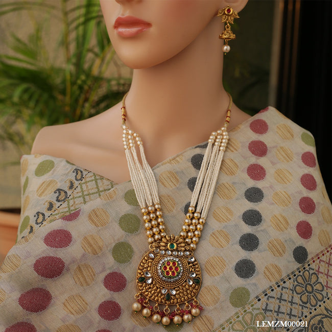 Gold Plated Pearls Mala Long Necklace Set