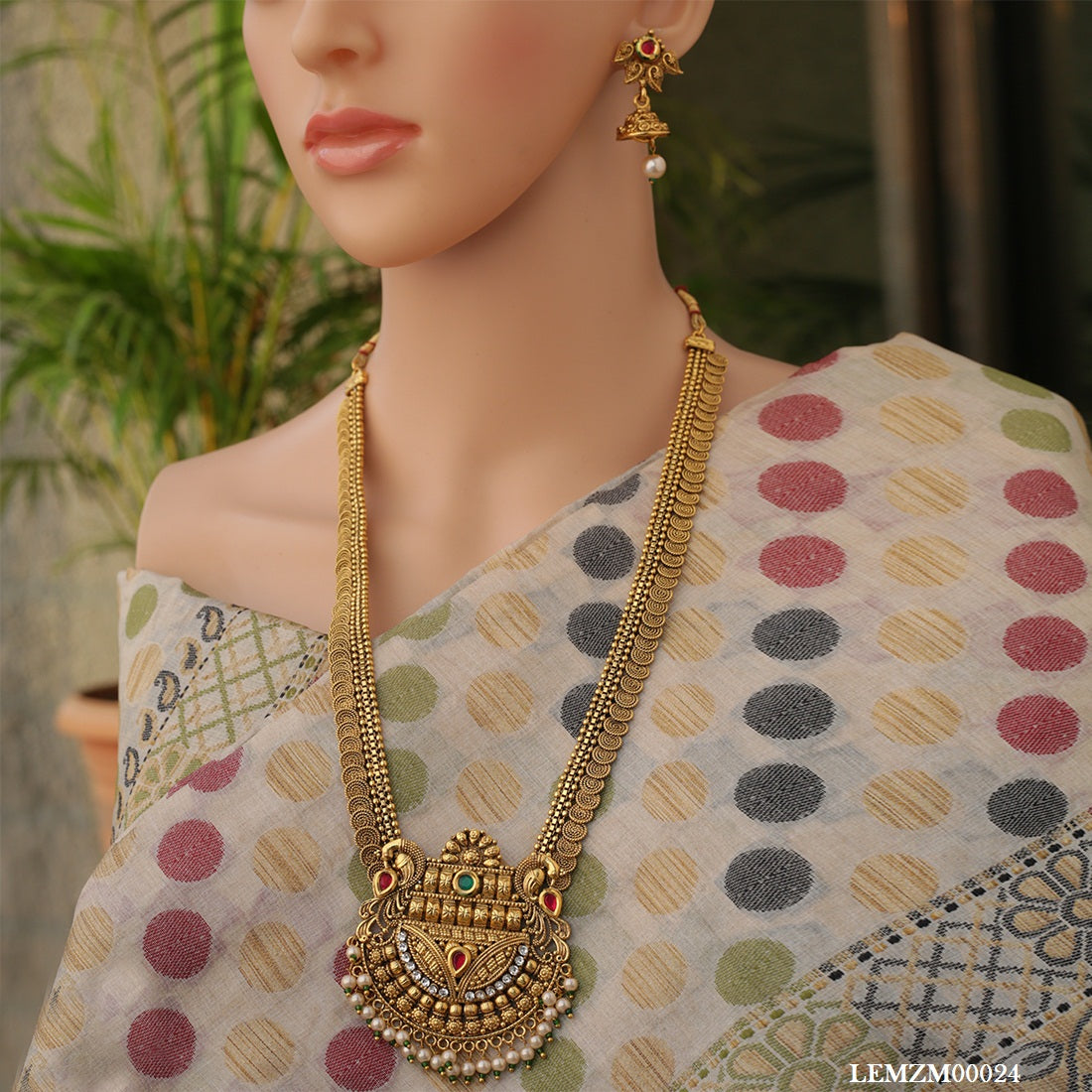 3b5993c8c3b Gold Plated Peacock Jalebi Pearls Long Necklace Set – LookEthnic