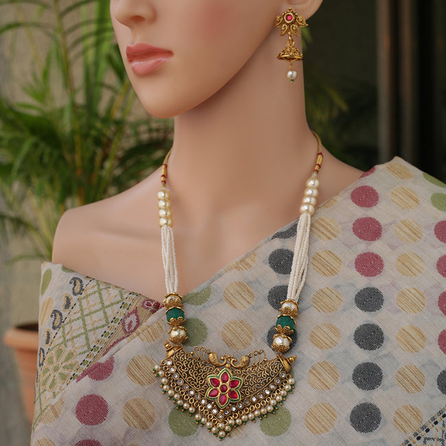 Gold plated Maroon kundan With Pearls mala peacock necklace set