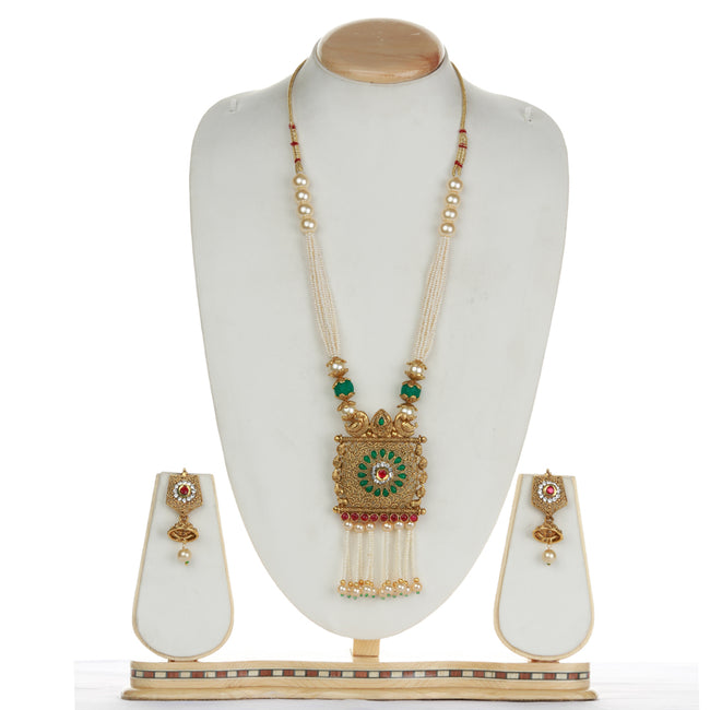 Square Type Green Maroon Kediya Long Necklce Set