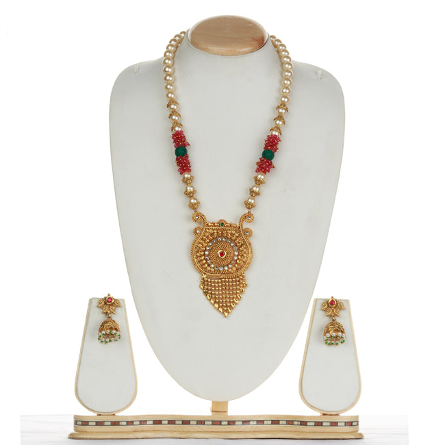 Attractive Jhalar Design Green Maroon Long Necklace Set