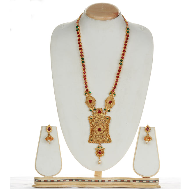 Latest Design Green Maroon Color Long Necklace Set